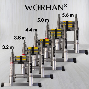 Double Telescopic Ladder - Aluminium Rings